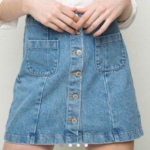 Brandy Melville Bruce skirt button up light denim